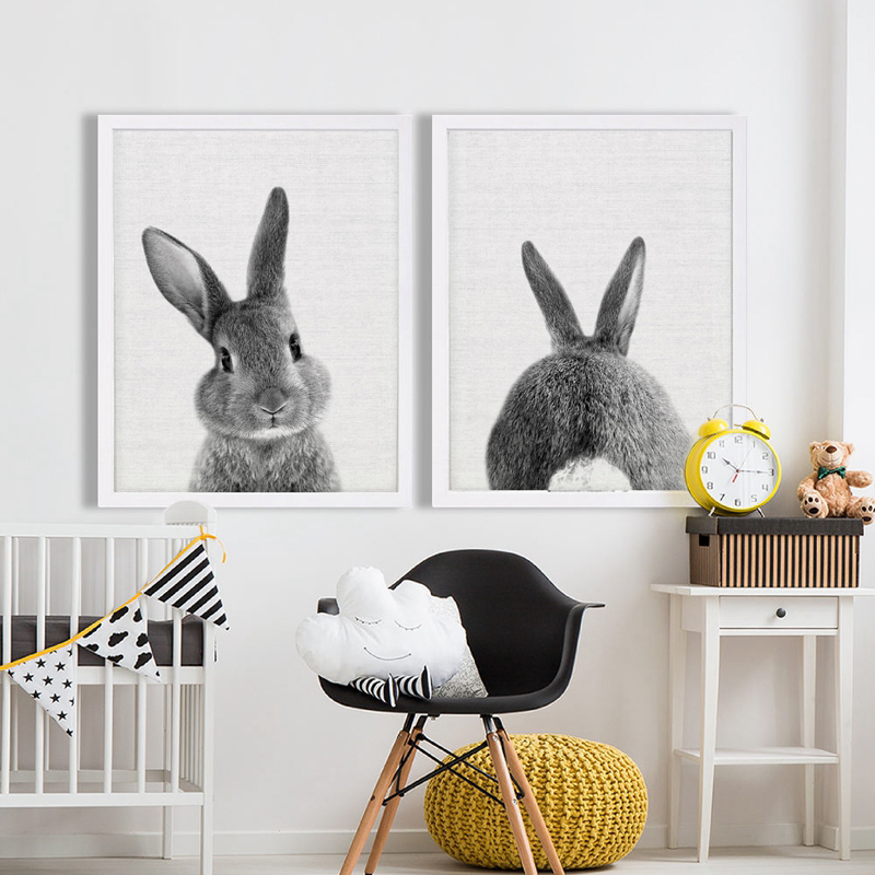 Black and White Baby Animal Rabbit Tail Canvas Art Print and Poster ...