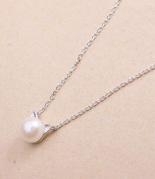Cute cat simulated pearl necklaces pendants for women animal smjel new fashion cute cat simulated pearl necklaces aloadofball Images