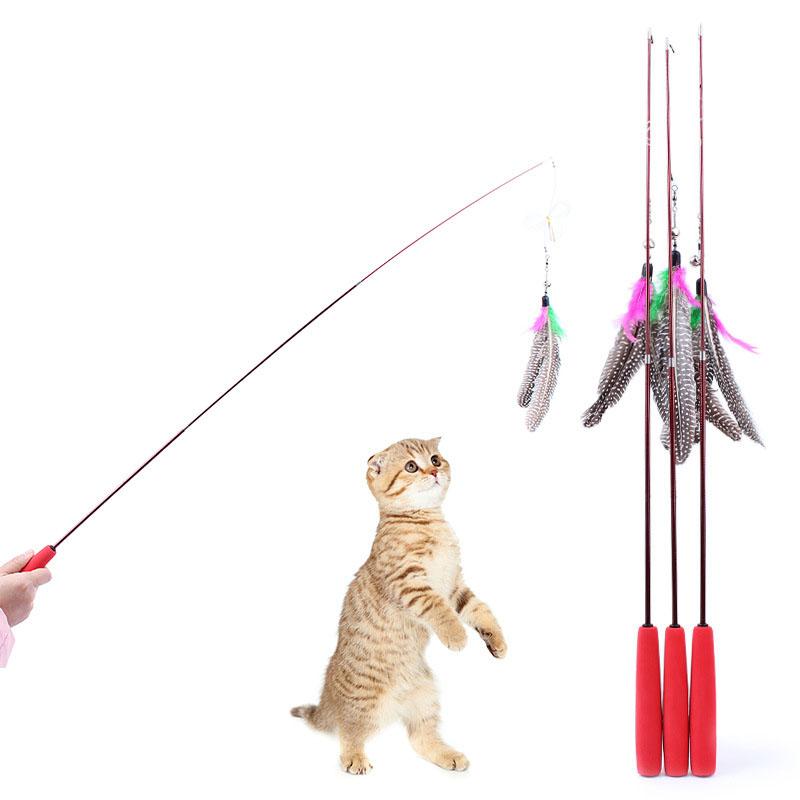 Three part bird feather teaser wand critter joe 39 s for Diy cat teaser wand